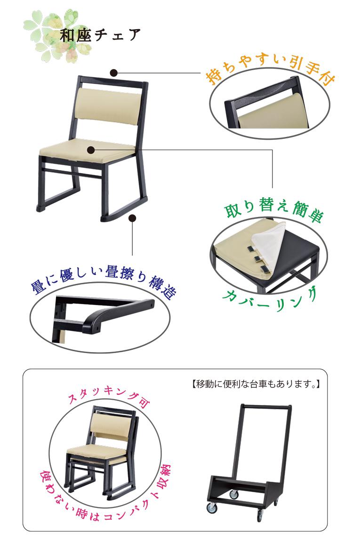 持ち易い引手付き!畳擦り構造で畳に優しい!スタッキング機能でコンパクトに収納!