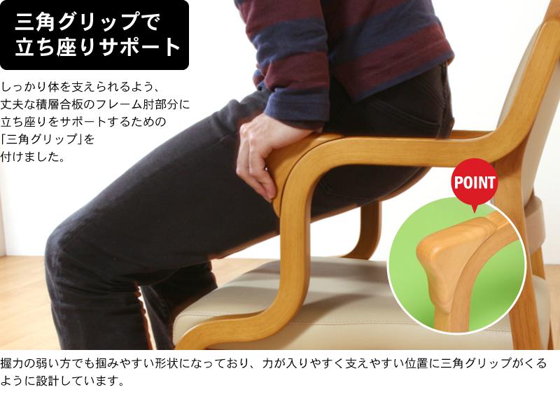 ポイント?握りやすく立ち上がりをサポートする「三角グリップ」