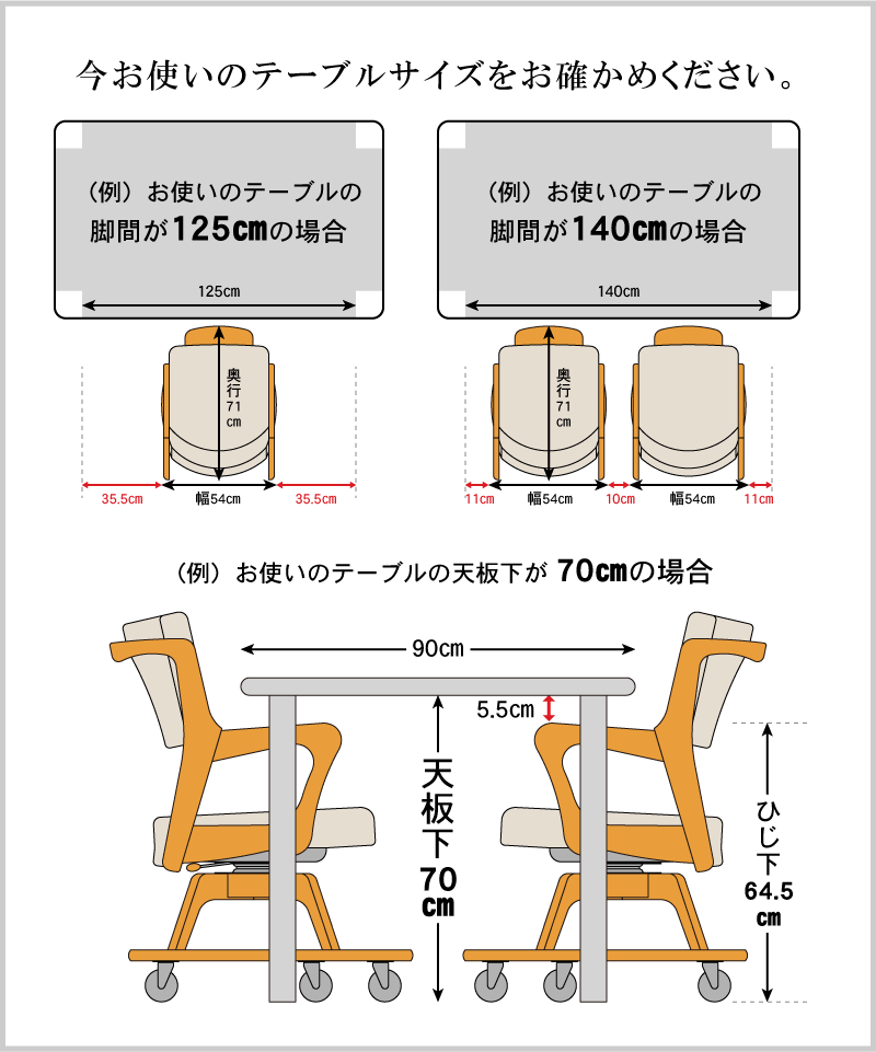 ご自宅でお使いのテーブルサイズで使えるかご確認ください